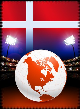 Denmark Flag with Globe on Stadium Background Original Illustration illustration