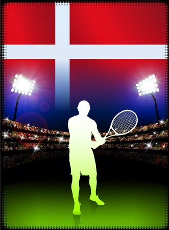 Denmark Flag and Tennis Player on Stadium Background Original Illustration Reklamní fotografie