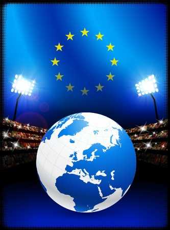 European Union Flag with Globe on Stadium Background