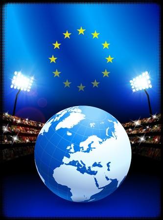 European Union Flag with Globe on Stadium BackgroundOriginal Illustration Stock Illustration - 7264444