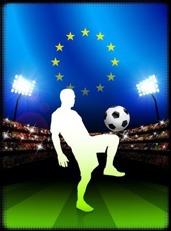 European Union Soccer Player with Flag on Stadium BackgroundOriginal Illustration Stock Illustration - 7264257