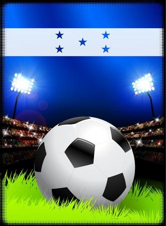 bandera honduras: Bandera de Honduras y Ball en segundo plano del estadio Ilustraci�n original