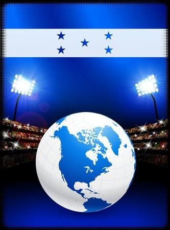 bandera honduras: Bandera de Honduras con globo sobre fondo de estadio Ilustraci�n original  Foto de archivo