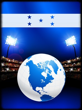 soccer stadium: Honduras Flag with Globe on Stadium Background Original Illustration Stock Photo