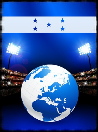Honduras Flag with Globe on Stadium Background