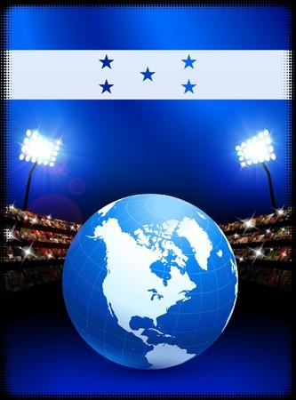 Honduras Flag with Globe on Stadium Background Original Illustration illustration