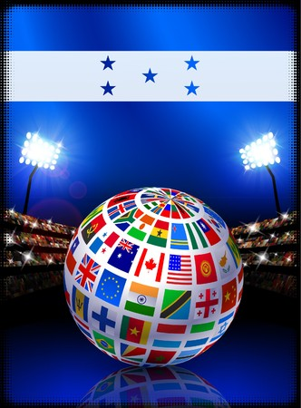 Honduras Flag Globe on Stadium Background Original Illustration illustration