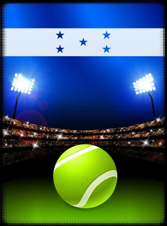 Honduras Flag and Tennis Ball on Stadium Background Original Illustration Stok Fotoğraf