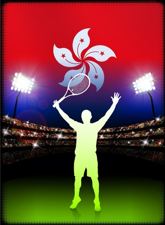 hong kong night: Hong Kong Flag and Tennis Player on Stadium Background Original Illustration