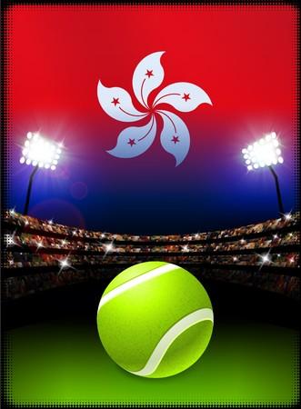 홍콩 플래그와 테니스 공 경기장 배경에 원래 그림 스톡 콘텐츠