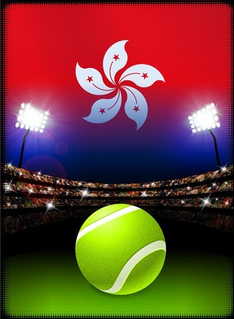 Hong Kong Flag and Tennis Ball on Stadium Background Original Illustration Stok Fotoğraf