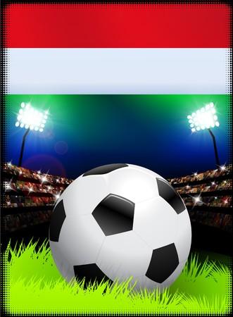 Hungary Flag and Ball on Stadium Background Original Illustration
