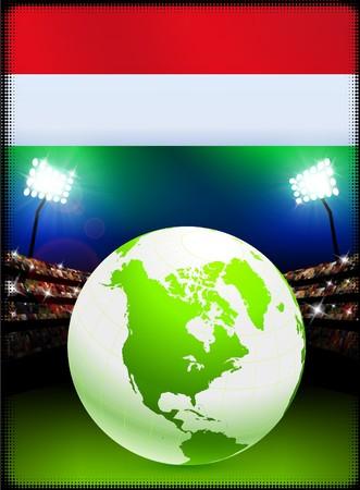 Hungary Flag with Globe on Stadium Background Original Illustration