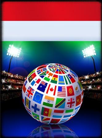 Hungary Flag Globe on Stadium Background Original Illustration illustration