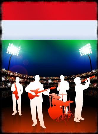 Live Music Band with Hungary Flag on Stadium Background Original Illustration