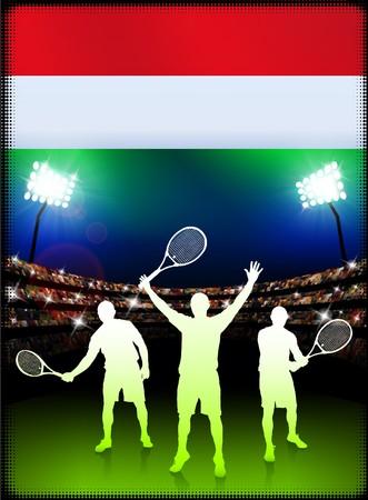 Hungary Flag and Tennis Player on Stadium Background Original Illustration