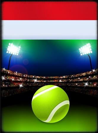 Hungary Flag and Tennis Ball on Stadium Background Original Illustration Фото со стока
