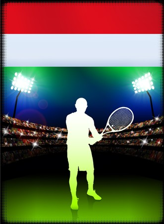 racket stadium: Hungary Flag and Tennis Player on Stadium Background Original Illustration