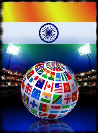 India Flag Globe on Stadium Background Original Illustration illustration