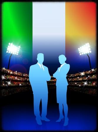 Ireland Business Couple on Stadium BackgroundOriginal Illustration Stock Illustration - 7264321