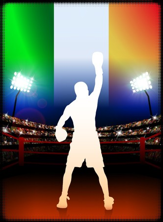 Ireland Boxing on Stadium BackgroundOriginal Illustration 免版税图像