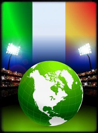 Ireland Flag with Globe on Stadium Background Original Illustration illustration