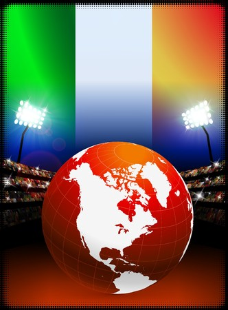 ireland flag: Ireland Flag with Globe on Stadium Background Original Illustration Stock Photo
