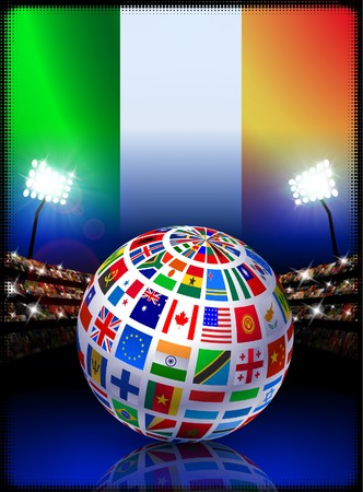 ireland flag: Ireland Flag Globe on Stadium Background Original Illustration