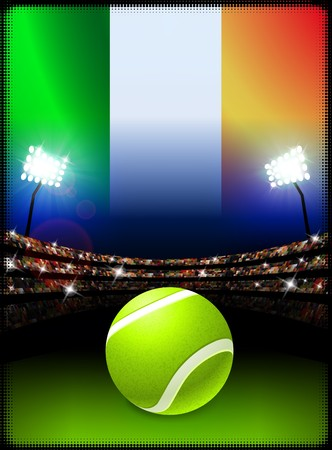 ireland flag: Ireland Flag and Tennis Ball on Stadium Background Original Illustration Stock Photo
