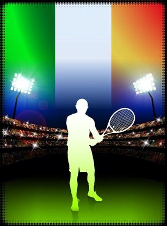 racket stadium: Ireland Flag and Tennis Player on Stadium Background Original Illustration Stock Photo