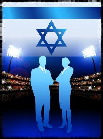 Israel Business Couple on Stadium BackgroundOriginal Illustration Stock Illustration - 7264333
