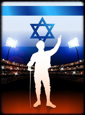Israel Fencing on Stadium Background