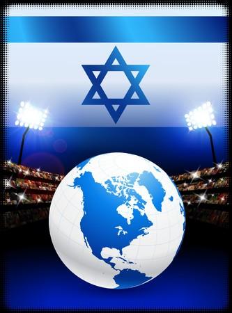 Israel Flag with Globe on Stadium Background Original Illustration illustration