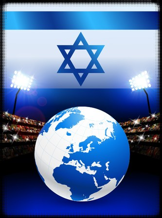 israel people: Israel Flag with Globe on Stadium Background Original Illustration