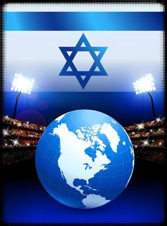 Israel Flag with Globe on Stadium BackgroundOriginal Illustration Stock Illustration - 7264685