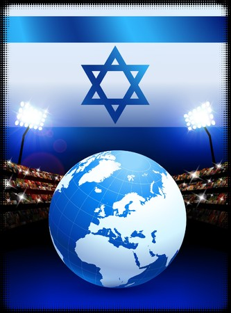 Israel Flag with Globe on Stadium Background
