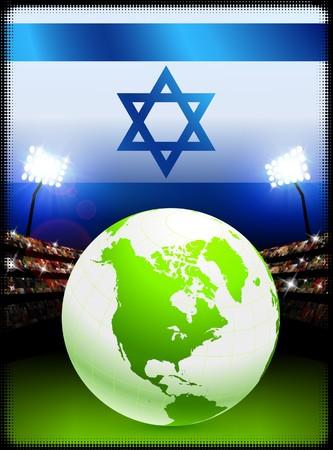 Israel Flag with Globe on Stadium BackgroundOriginal Illustration Stock Illustration - 7264727