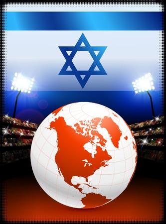 Israel Flag with Globe on Stadium BackgroundOriginal Illustration Stock Illustration - 7264731