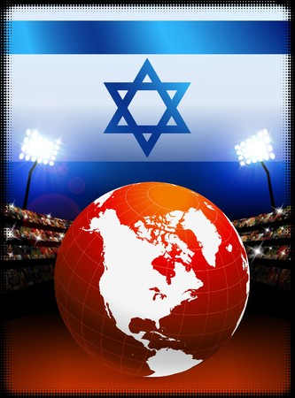 Israel Flag with Globe on Stadium Background Original Illustration illustration