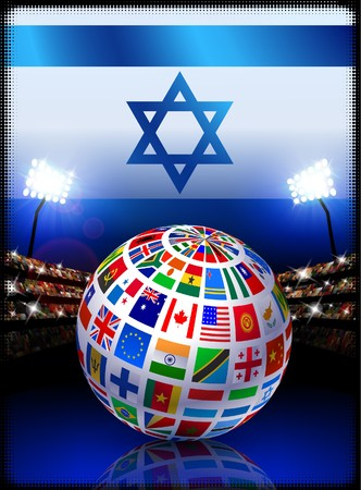 Israel Flag Globe on Stadium Background