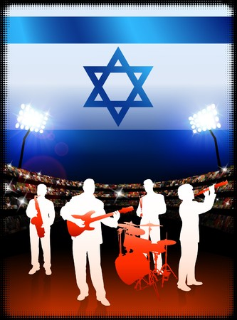 israel people: Live Music Band with Israel Flag on Stadium Background Original Illustration