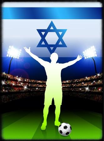 Israel Soccer Player with Flag on Stadium BackgroundOriginal Illustration Stock Illustration - 7264677