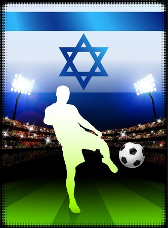 Israel Soccer Player with Flag on Stadium BackgroundOriginal Illustration Stock Illustration - 7264608