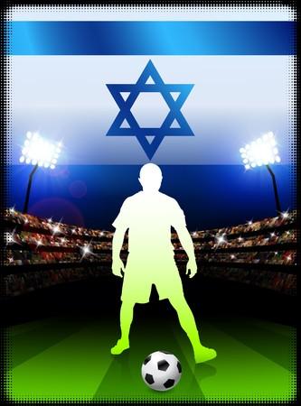 Israel Soccer Player with Flag on Stadium BackgroundOriginal Illustration Stock Illustration - 7264673