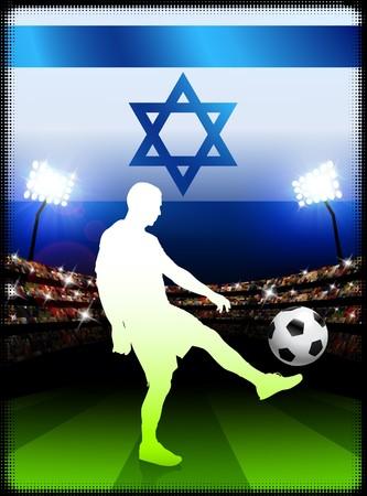 Israel Soccer Player with Flag on Stadium BackgroundOriginal Illustration Stock Illustration - 7264609