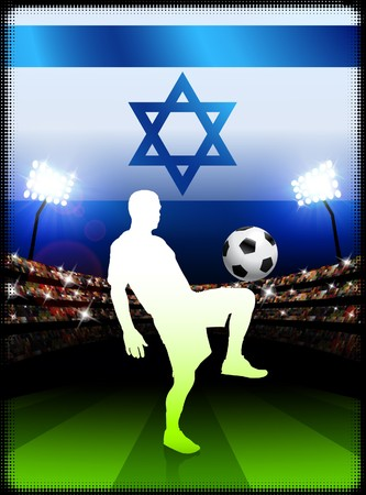 Israel Soccer Player with Flag on Stadium BackgroundOriginal Illustration Stock Illustration - 7264612