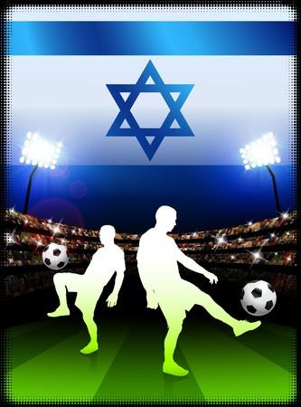 Israel Soccer Player with Flag on Stadium BackgroundOriginal Illustration Stock Illustration - 7264678