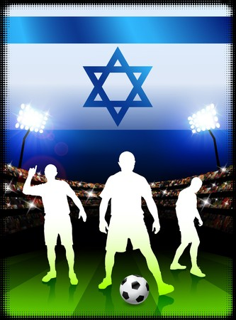 Israel Soccer Player with Flag on Stadium Background Original Illustration Stock Photo