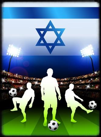 Israel Soccer Player with Flag on Stadium BackgroundOriginal Illustration Stock Illustration - 7264720