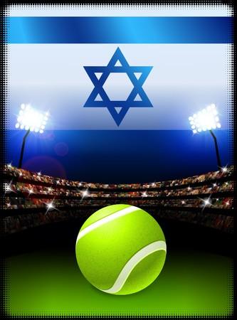 Israel Flag and Tennis Ball on Stadium Background Original Illustration